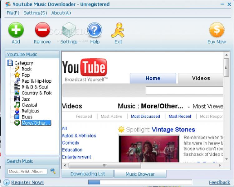 GizmoSoft.Ru - На главную.  Скачать Программы для Интернета.  YouTube Music Downloader v3.6.2 Portable.